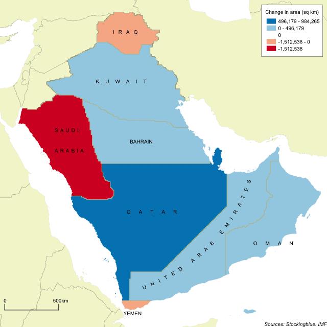 The Arabian Peninsula\'s Borders Based on Per Capita GDP -- Stocking Blue