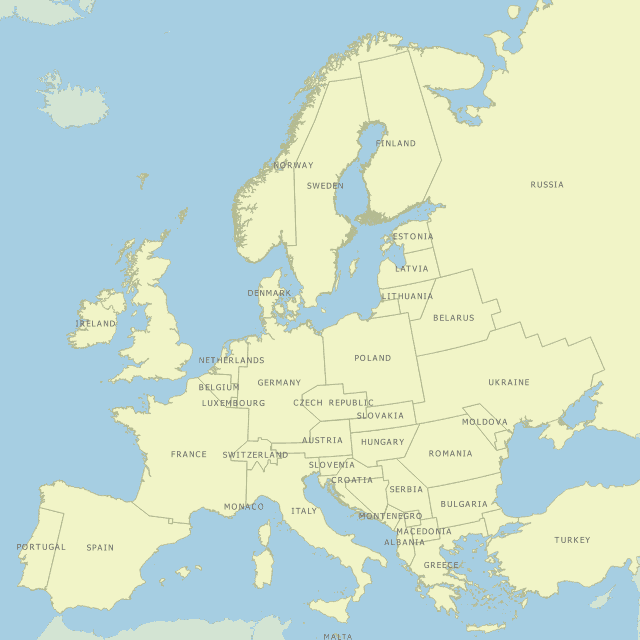 Map of Europe with range and township borders